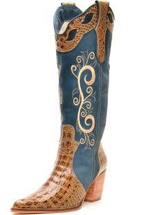 Bota Country Bico Fino Cano Longo Com Amarras Sapatofran Jeans Anaconda