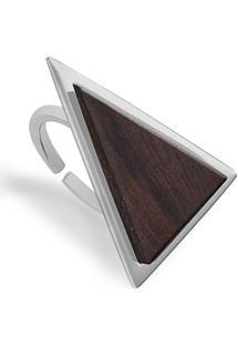 Anel Wooden Design Triangular Em Prata 925 - Madeira E Prata