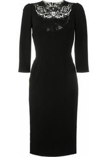 Dolce & Gabbana Vestido Slim Com Recorte De Renda - Preto
