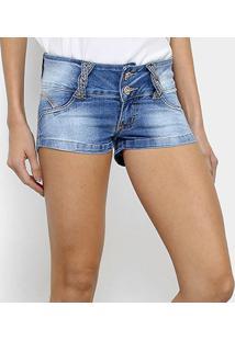 df835b1fc7f414 Zattini Short Jeans Biotipo Estonado Cintura Baixa Feminino - Feminino-Azul