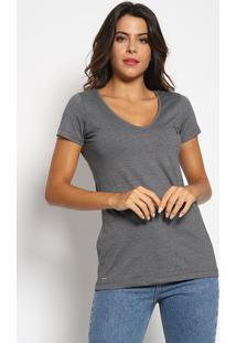 Camiseta Com Bordado - Cinza Escuro & Pretaaleatory