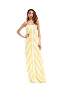 Vestido Longo Com Estampa Assimétrica De Alcinha - Amarelo