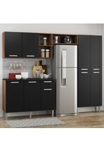 Cozinha Completa Compacta Pequim Up Multimóveis Com Balcão -Madeirado Com Preto