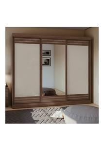 Guarda Roupa Casal C/ Espelho 3 Portas 4 Gavetas Speciale Móveis Lopas Marrom