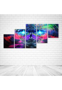 Quadro Decorativo - Dark Skull Color Art Teaser Mind Psy - Composto De 5 Quadros - Multicolorido - Dafiti