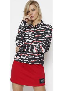 Camisa Abstrata Com Botãµes - Preta & Vermelhacalvin Klein