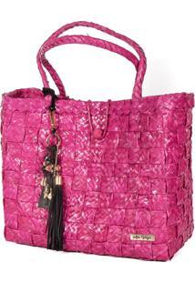 Bolsa Tote-Shopper Palha Feminina Berloques Metais Passeio Pink - Pink - Feminino - Dafiti