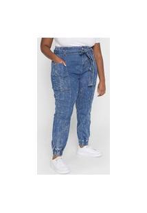 Calça Jeans Forever 21 Plus Jogger Com Cinto Azul