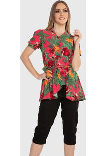 Blusa Casual Carbella Rose Manga Bufante Estampada Floral Com Cinto Floral Verde/Vermelho