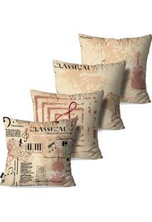 Kit Com 4 Capas Para Almofadas Decorativas Estilo Musical Com Escrita 45X45Cm - Bege - Dafiti