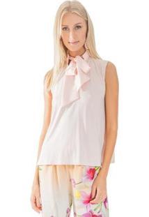Camisa Lucy In The Sky Regata Gola Laço Rosa Quartzo - Feminino-Rosa