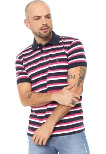 ... Camisa Polo Aleatory Reta Listrada Azul-Marinho Rosa a5c9d4d41cded