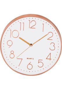Relógio De Parede- Branco & Rosê Gold- 5Xø30Cm- Mart