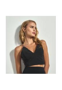 Blusa Cropped Lisa Com Alça Fina | Just Be | Preto | G