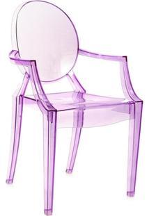 Cadeira Acrílica Louis Ghost - Com Braços - Sophia - Roxo - Lilás