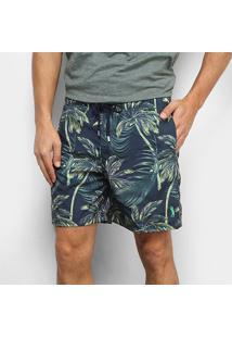Bermuda Aleatory Pineapple Listras Masculina - Masculino-Azul+Verde