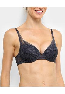 Sutiã Hope Demi Push Up Rendado - Feminino-Cinza