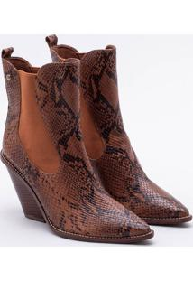 Ankle Boot Couro Snake Camel