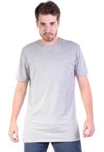 Camiseta Gang Básica Alongada Cinza Mescla