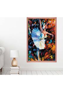 Quadro Love Decor Com Moldura Bailarina Rose Metalizado Grande