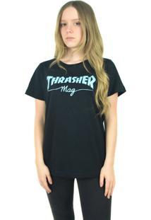Camiseta Thrasher Magazine Feminina Mag Logo Preta - Kanui