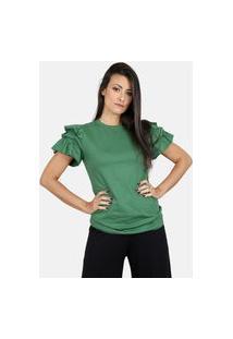 Blusa Feminina Algodão Com Babados Verde