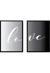 Conjunto De Quadros Decorativos Love I Cinza E Preto (33X24)