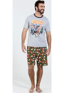 Pijama Masculino Super Heróis Liga Da Justiça