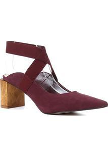 Scarpin Couro Shoestock Salto Madeira Nobuck Elástico - Feminino-Vinho
