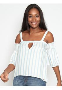 Blusa Listrada Com Recortes- Off White & Azul Claro-Triton