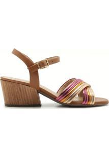 Sandália Bibiana Couro Multicolorido | Alme