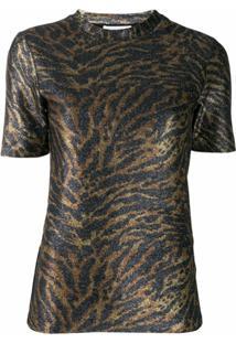 Ganni Blusa De Tricô Com Estampa - Dourado