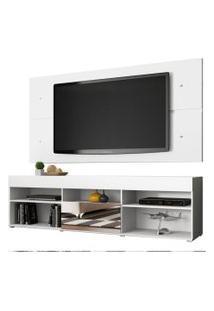 Rack Com Painel Para Tv Até 65 Polegadas Madesa London 1 Porta Com Espelho Branco