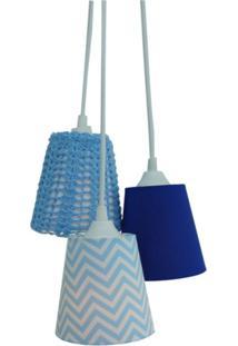 Luminária Pendente Menino Crie Casa Crochê Azul