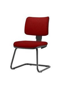 Cadeira Zip Assento Crepe Vermelho Base Fixa Preta - 54473 Vermelho