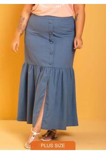 Saia Longa Catarina Azul Plus Size Azul