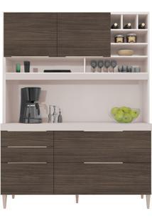 Conjunto Armário Cozinha Soft Ártico Capuccino 3 Portas Basculante 1 Adega - Incorplac