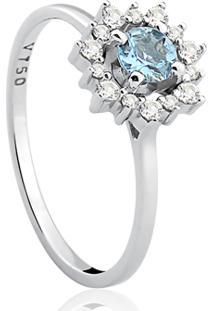 Anel Ouro Branco Diamantes E Água Marinha Olympia