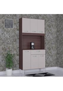Cozinha Compacta 6 Portas 1 Gaveta Kit Cássia 6172 Capuccino/Off White - Poquema