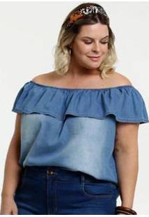 Blusa Feminina Jeans Ombro A Ombro Plus Size Marisa