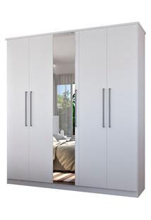 Guarda Roupa Solteiro 5 Portas 1 Espelho Single F04 Branco - Mpozenato