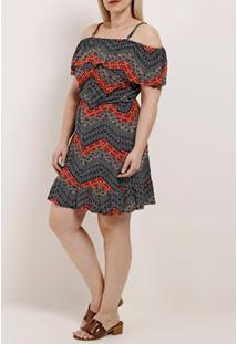 Vestido Ciganinha Plus Size Feminino Autentique Azul Marinho