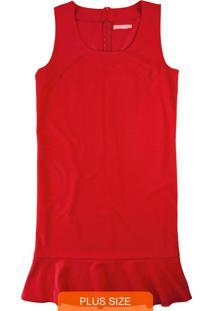 Vestido Vermelho Peplum Em Tecido Creponado