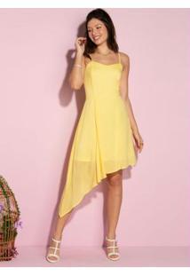 Vestido De Alças E Barra Com Assimetria Amarelo