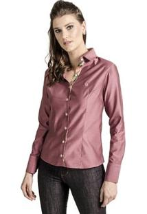 Camisa Carlos Brusman Feminina Slim Reta - Feminino-Rosa