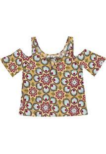 Blusa Feminina Em Tecido De Viscose Na Modelagem Open Shoulder Estampada