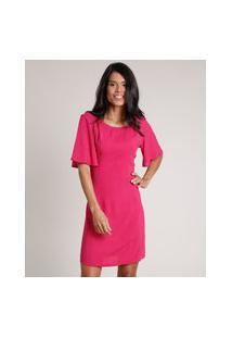 Vestido Feminino Curto Com Tiras Manga Curta Rosa Escuro