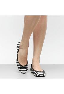 Sapatilha Shoestock Bico Redondo Preta E Branca Feminina - Feminino-Preto