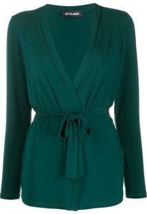 Styland Belted Lightweight Cardigan - Verde