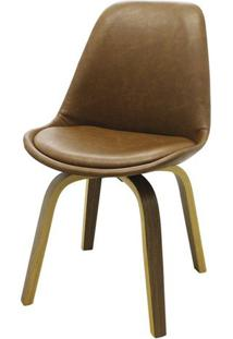 Cadeira Lis Eames Revestida Pu Marrom Base Madeira Mescla - 51147 - Sun House
